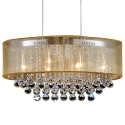 """26"""" 6 Light Drum Shade Chandelier with Chrome finish"""