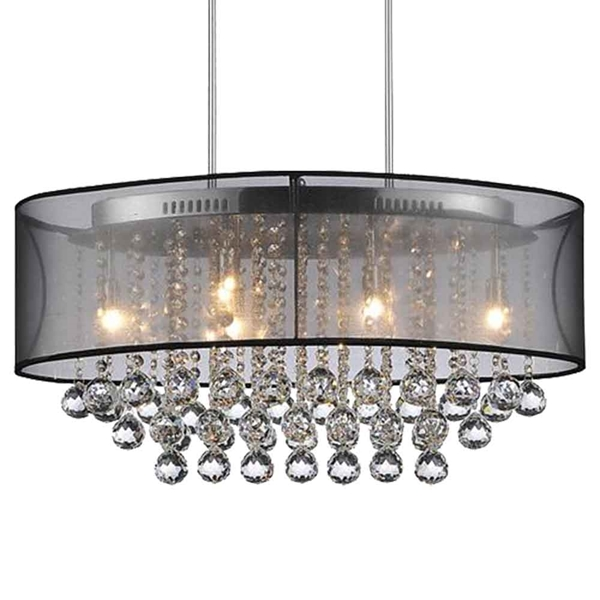 """Picture of 26"""" 6 Light Drum Shade Chandelier with Chrome finish"""