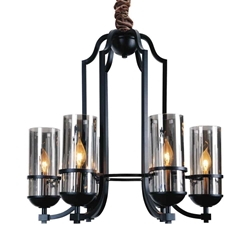 """26"""" 6 Light Up Chandelier with Black finish"""