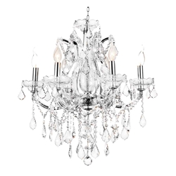 "26"" 6 Light Up Chandelier with Chrome finish"