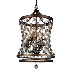 "26"" 6 Light Up Chandelier with Speckled Bronze finish"