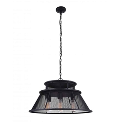 "26"" 7 Light Down Chandelier with Reddish Black finish"