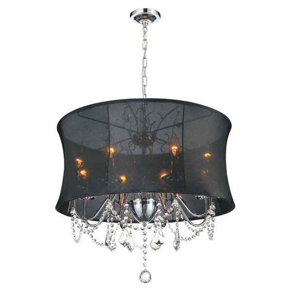 "Picture of 26"" 8 Light Drum Shade Chandelier with Chrome finish"