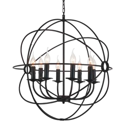 """26"""" 8 Light Up Chandelier with Brown finish"""