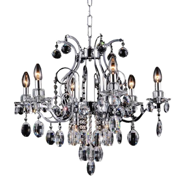 "Picture of 26"" 8 Light Up Chandelier with Chrome finish"