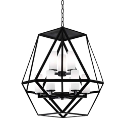 """26"""" 9 Light Candle Chandelier with Black finish"""
