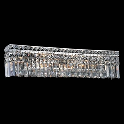 "26"" Bossolo Transitional Crystal Rectangular Wall Sconce Vanity Light Polished Chrome 6 Lights"