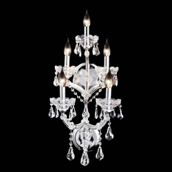 "26"" Maria Theresa Traditional Crystal Wall Sconce Polished Chrome 5 Lights"