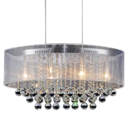 "26"" Organza Contemporary Oval Crystal Pendant Chrome Finish Black / White / Champagne Shade Clear / Smoke Crystals 6 Lights"