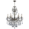 "Picture of 26"" Ottone Traditional Candle Round Crystal Chandelier Antique Brass Finish 6 Lights without Lampshades"