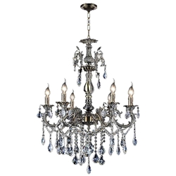 "26"" Ottone Traditional Candle Round Crystal Chandelier Antique Brass Finish 6 Lights without Lampshades"