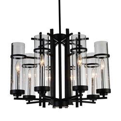 "26"" Sierra Modern Black Iron Round Chandelier 8 Lights"