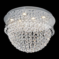 "26"" Sphere Modern Round Crystal Flush Mount Ceiling Lamp Mirror Stainless Steel Base 11 Lights"