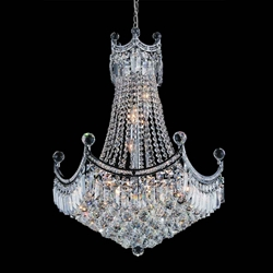 """27"""" 10 Light Down Chandelier with Chrome finish"""