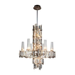 "27"" 12 Light Down Chandelier with Champagne finish"