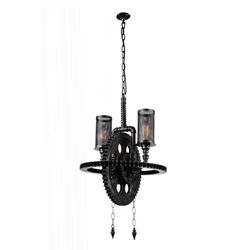 "27"" 2 Light Up Chandelier with Gray finish"