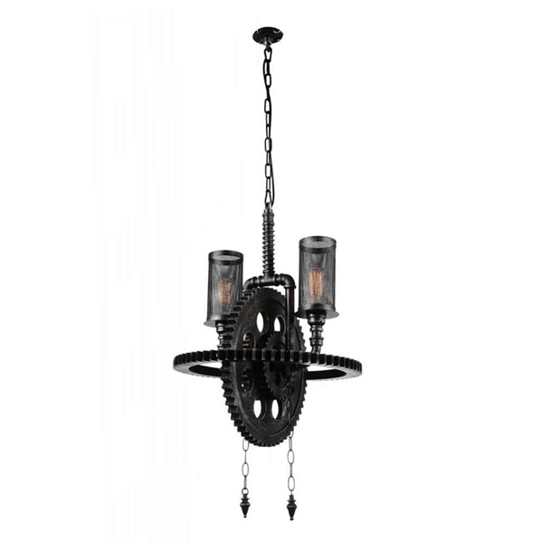 "Picture of 27"" 2 Light Up Chandelier with Gray finish"