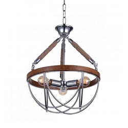 "27"" 3 Light Down Chandelier with Chrome finish"
