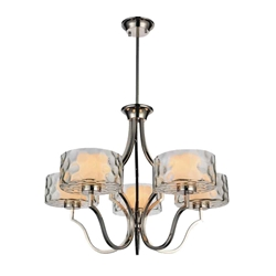 """27"""" 5 Light Drum Shade Chandelier with Chrome finish"""