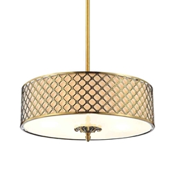 "27"" 5 Light Drum Shade Chandelier with French Gold finish"