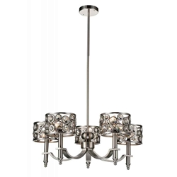 "27"" 5 Light Up Chandelier with Satin Nickel finish"