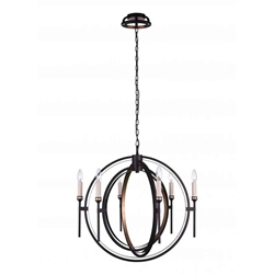 """27"""" 6 Light Candle Chandelier with Golden Brown finish"""