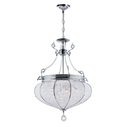 """27"""" 6 Light Down Chandelier with Chrome finish"""