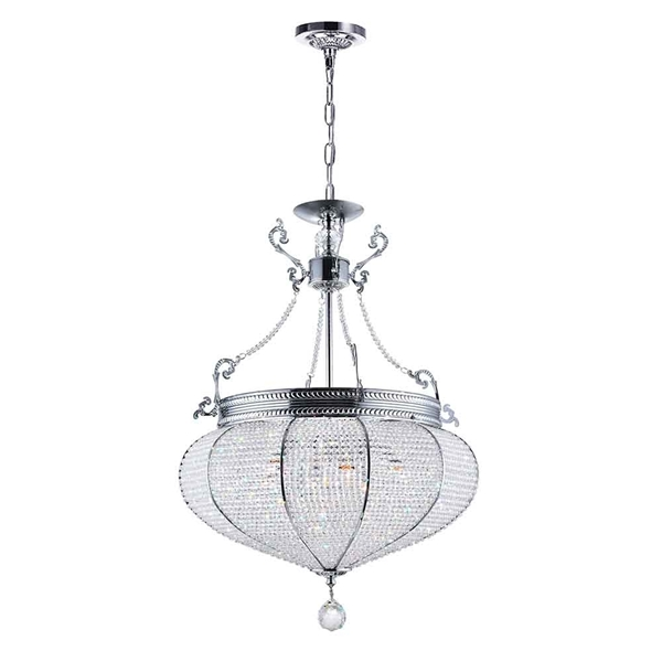 "Picture of 27"" 6 Light Down Chandelier with Chrome finish"