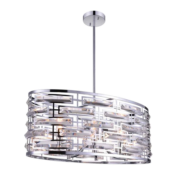 "Picture of 27"" 6 Light Drum Shade Chandelier with Chrome finish"