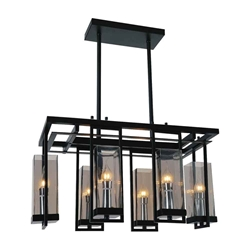 "27"" 6 Light Up Chandelier with Black finish"