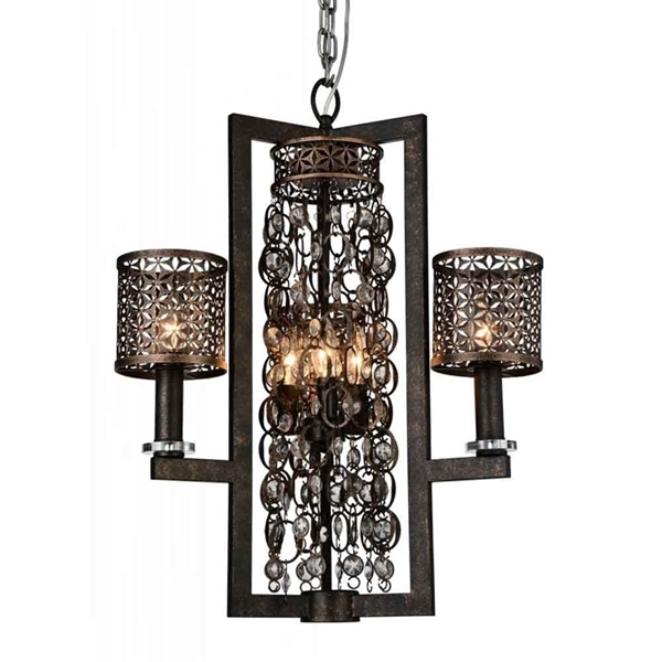 """Picture of 27"""" 6 Light Up Chandelier with Golden Bronze finish"""