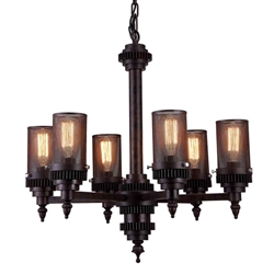 """27"""" 6 Light Up Chandelier with Rust finish"""