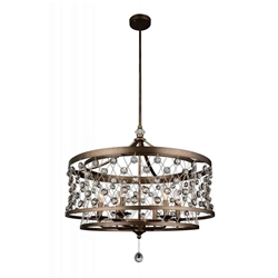 """27"""" 6 Light Up Chandelier with Speckled Bronze finish"""