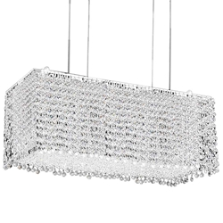 "27"" Rainbow Modern Rectangular Crystal Chandelier, Polished Chrome, 18 Lights, Clear / Black / Purple / Red or Blue Crystal"
