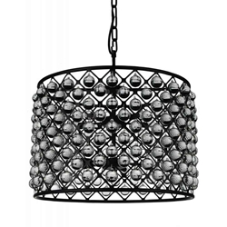 "28"" 10 Light  Chandelier with Black finish"