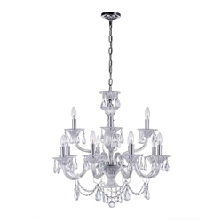 """28"""" 12 Light Up Chandelier with Chrome finish"""