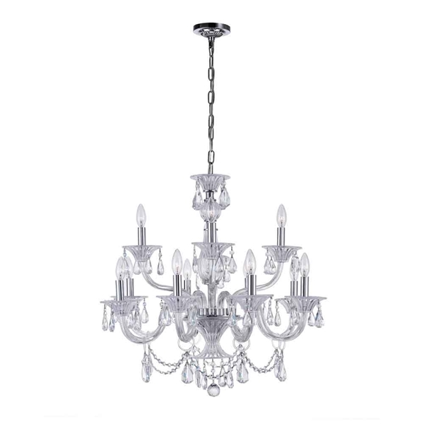 "Picture of 28"" 12 Light Up Chandelier with Chrome finish"