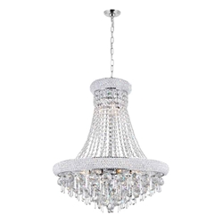 "28"" 13 Light Down Chandelier with Chrome finish"