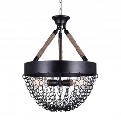 "28"" 3 Light Down Chandelier with Antique Black finish"