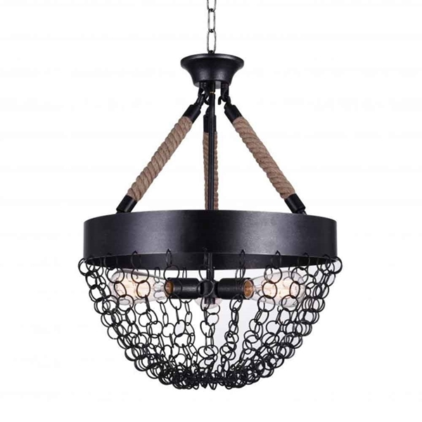 "Picture of 28"" 3 Light Down Chandelier with Antique Black finish"