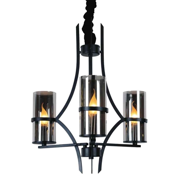 "Picture of 28"" 3 Light Up Chandelier with Black finish"