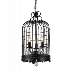 """28"""" 3 Light Up Mini Chandelier with Black finish"""