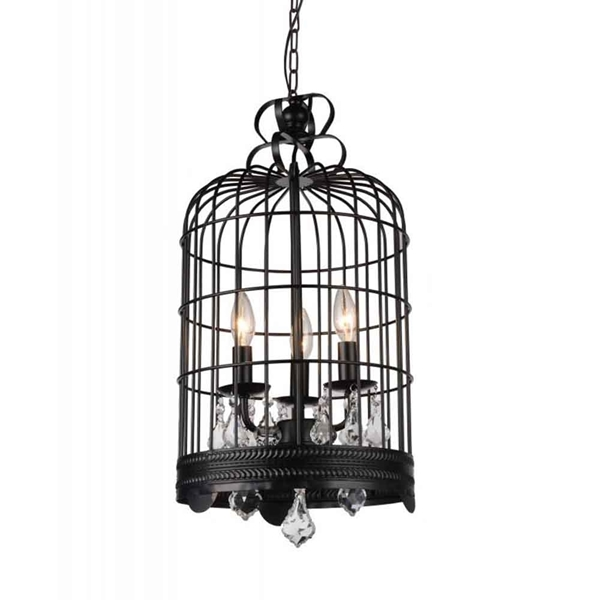 "Picture of 28"" 3 Light Up Mini Chandelier with Black finish"