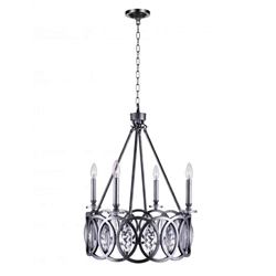 """28"""" 4 Light Candle Chandelier with Gun Metal finish"""