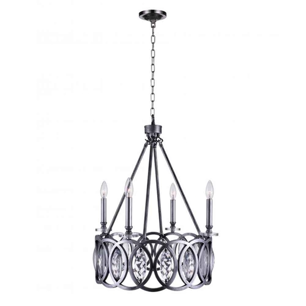 "Picture of 28"" 4 Light Candle Chandelier with Gun Metal finish"