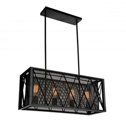 "28"" 4 Light Up Chandelier with Black finish"