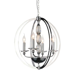 "28"" 4 Light Up Chandelier with Chrome finish"