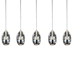 "28"" 5 Light Multi Light Pendant with Chrome finish"