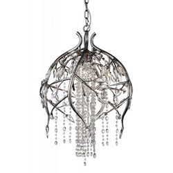 """28"""" 6 Light Down Chandelier with Speckled Nickel finish"""