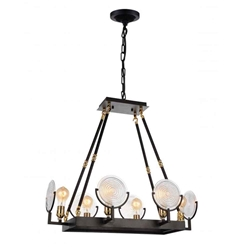 """28"""" 6 Light Up Chandelier with Brown finish"""